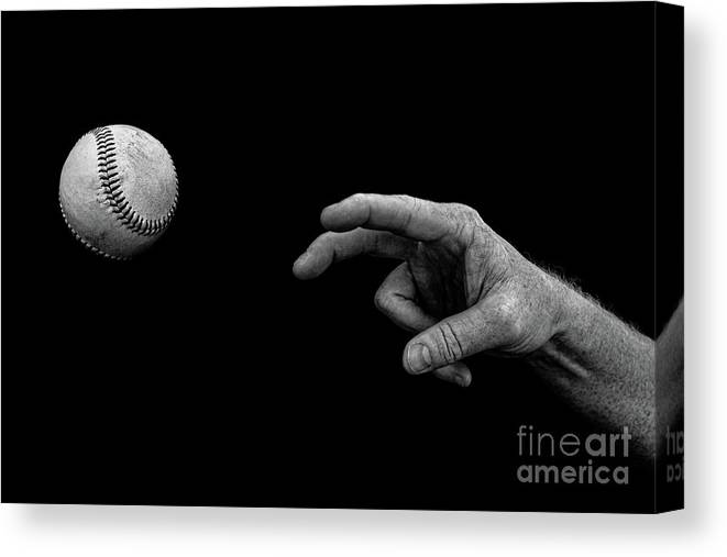 Ball Canvas Print featuring the photograph Fastball in Black and White by Diane Diederich