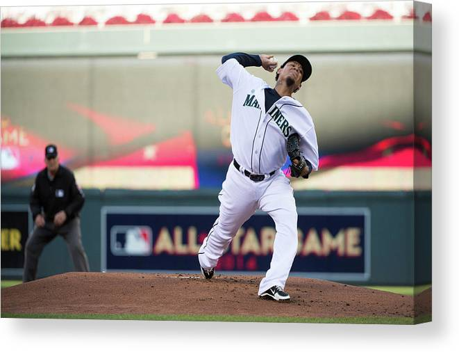 People Canvas Print featuring the photograph Felix Hernandez by Ron Vesely