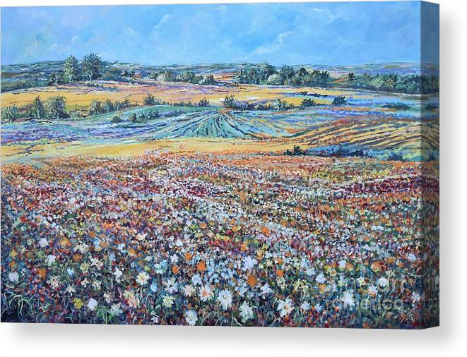 Flower Canvas Print featuring the painting Flower Field by Sinisa Saratlic