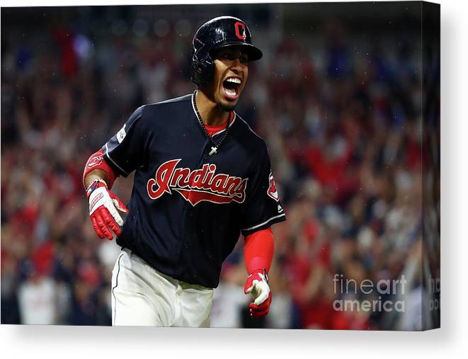 Game Two Canvas Print featuring the photograph Francisco Lindor by Gregory Shamus