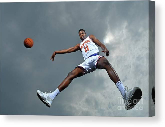 Nba Pro Basketball Canvas Print featuring the photograph Frank Ntilikina by Jesse D. Garrabrant