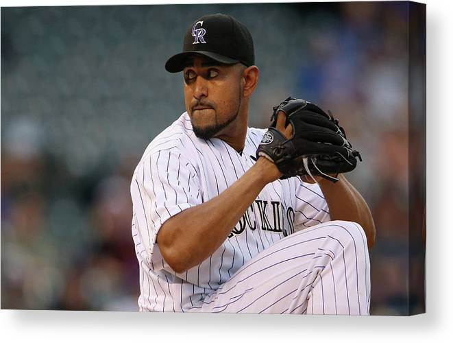 Baseball Pitcher Canvas Print featuring the photograph Franklin Morales by Doug Pensinger