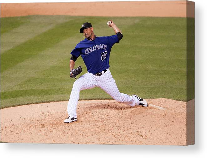 Baseball Pitcher Canvas Print featuring the photograph Franklin Morales by Dustin Bradford