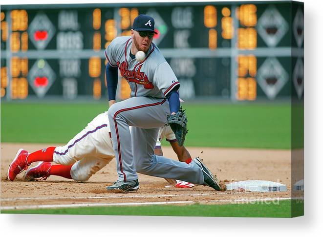 Sports Ball Canvas Print featuring the photograph Freddie Freeman and Jimmy Rollins by Rich Schultz