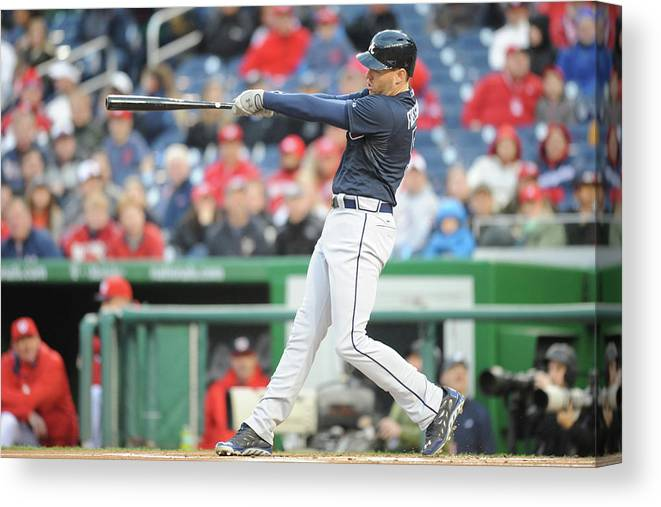 Motion Canvas Print featuring the photograph Freddie Freeman by Mitchell Layton