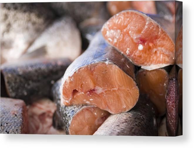 Heap Canvas Print featuring the photograph Fresh Salmon by Kazuko Kimizuka
