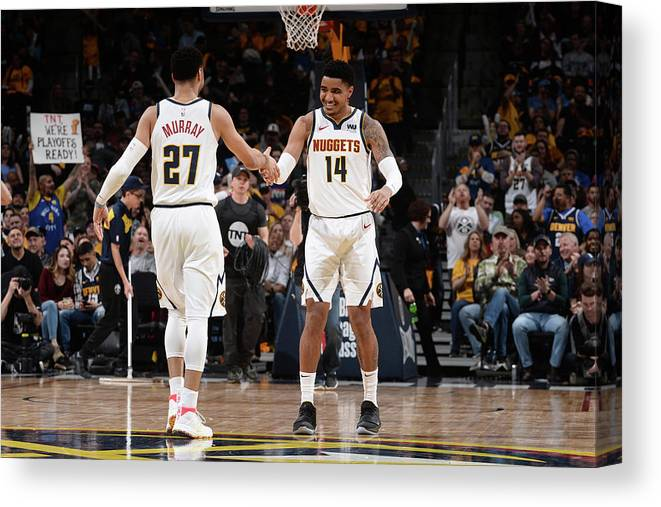 Nba Pro Basketball Canvas Print featuring the photograph Gary Harris and Jamal Murray by Bart Young