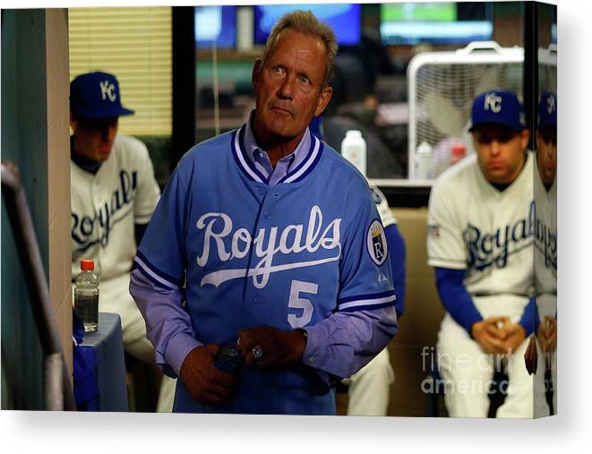 People Canvas Print featuring the photograph George Brett by Ed Zurga