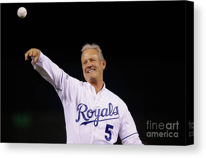 Game Two Canvas Print featuring the photograph George Brett by Pool