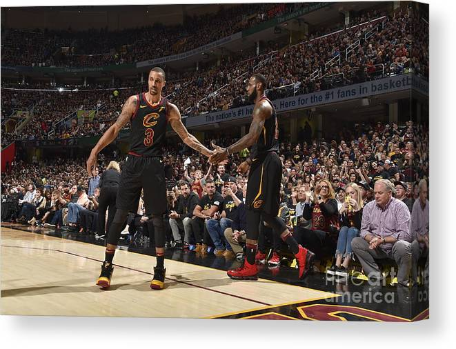Playoffs Canvas Print featuring the photograph George Hill and Lebron James by Jeff Haynes