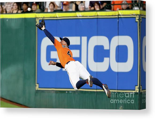People Canvas Print featuring the photograph George Springer and Adam Duvall by Bob Levey