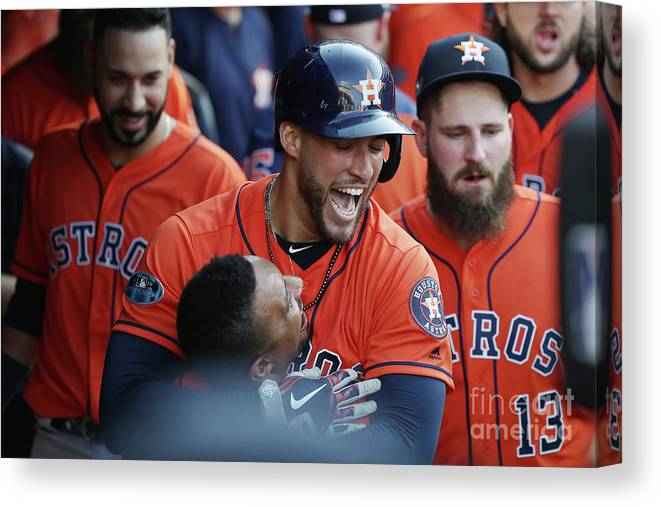 People Canvas Print featuring the photograph George Springer and Tony Kemp by Gregory Shamus