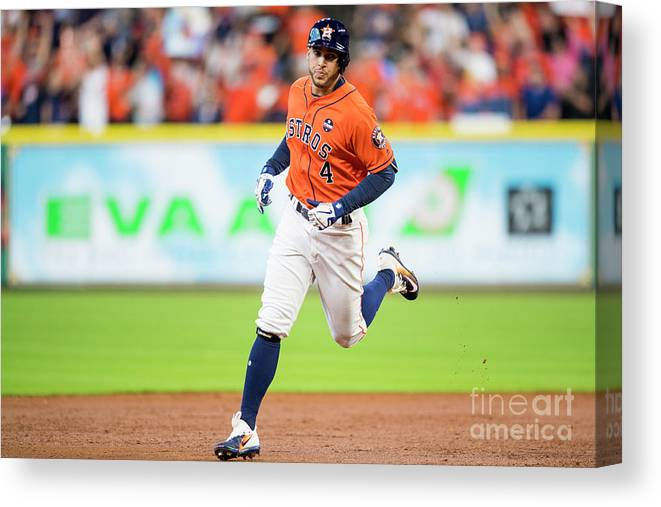 Game Two Canvas Print featuring the photograph George Springer by Billie Weiss/boston Red Sox