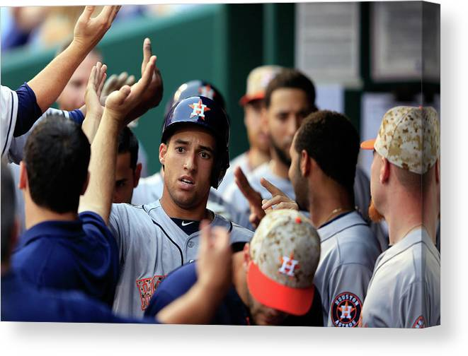 American League Baseball Canvas Print featuring the photograph George Springer by Jamie Squire