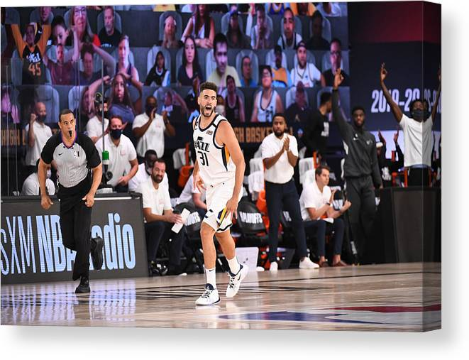Playoffs Canvas Print featuring the photograph Georges Niang by Garrett Ellwood