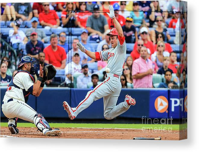 Atlanta Canvas Print featuring the photograph Gerald Laird and Chase Utley by Daniel Shirey