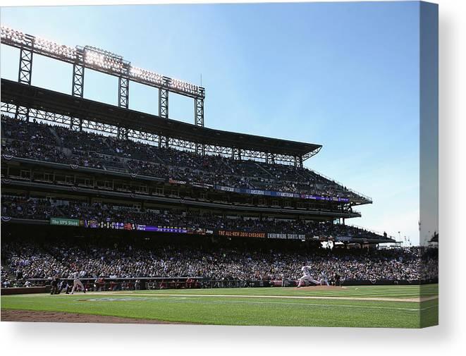 Baseball Pitcher Canvas Print featuring the photograph Gerardo Parra and Juan Nicasio by Doug Pensinger