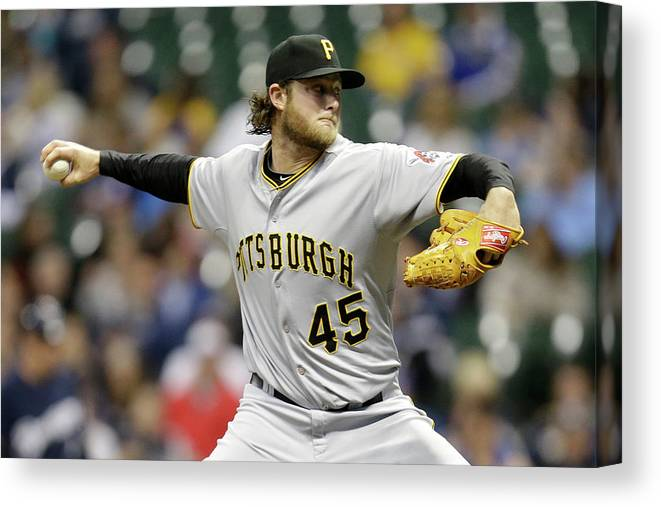 Gerrit Cole Canvas Print featuring the photograph Gerrit Cole by Mike Mcginnis