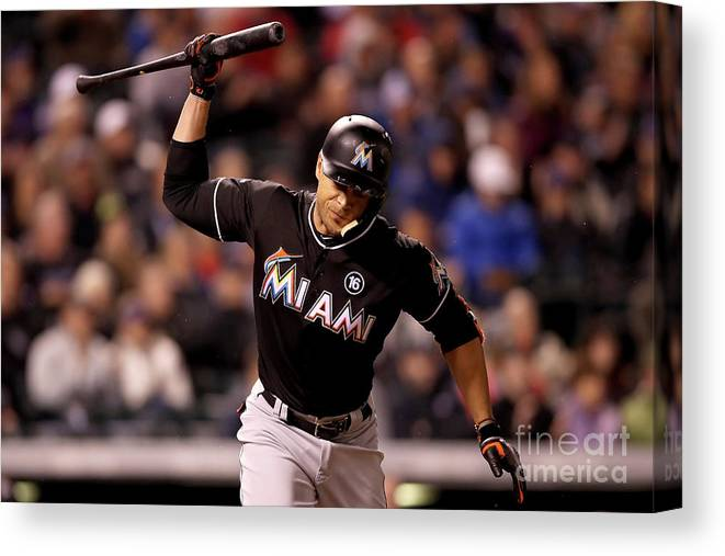 American League Baseball Canvas Print featuring the photograph Giancarlo Stanton by Matthew Stockman