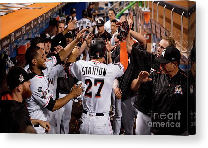 People Canvas Print featuring the photograph Giancarlo Stanton by Rob Foldy/miami Marlins