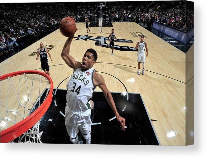 Nba Pro Basketball Canvas Print featuring the photograph Giannis Antetokounmpo by Mark Sobhani