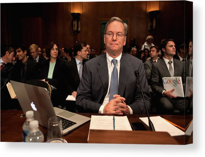 Strategy Canvas Print featuring the photograph Google CEO Testifies At Senate Hearing On Antitrust Policy by Chip Somodevilla