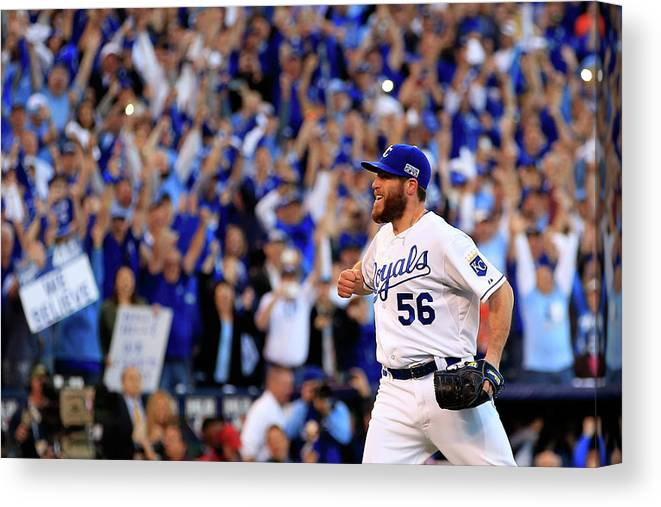 American League Baseball Canvas Print featuring the photograph Greg Holland by Jamie Squire