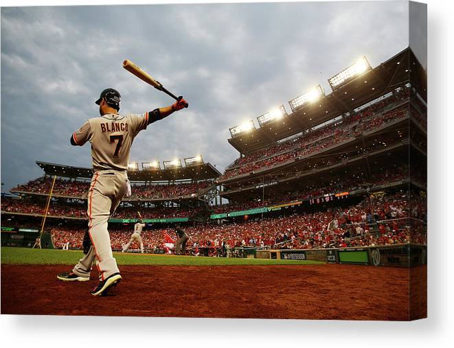 National League Baseball Canvas Print featuring the photograph Gregor Blanco by Al Bello