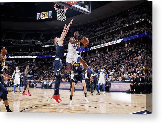 Nba Pro Basketball Canvas Print featuring the photograph Harrison Barnes by Garrett Ellwood