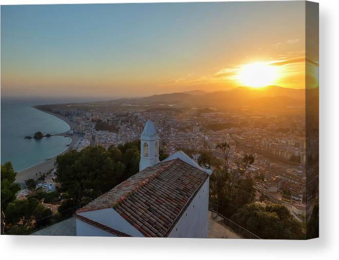 Blanes Canvas Print featuring the photograph Hermitage And Views Of Blanes At Sunset, Costa Brava, Spain by Vicen Photography