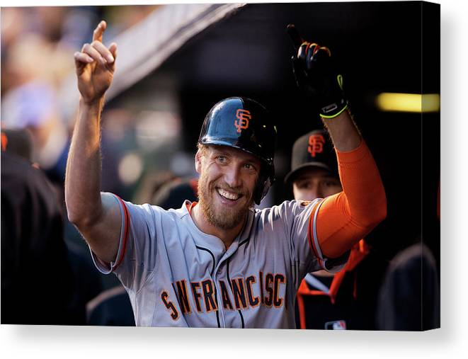 Celebration Canvas Print featuring the photograph Hunter Pence by Justin Edmonds