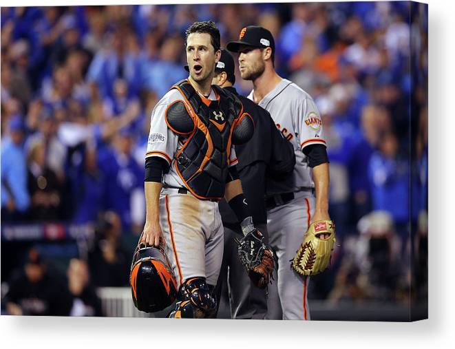 Game Two Canvas Print featuring the photograph Hunter Strickland and Buster Posey by Elsa