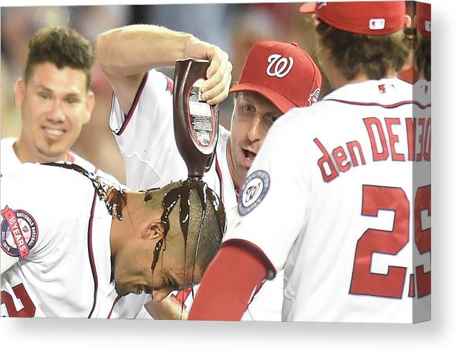 People Canvas Print featuring the photograph Ian Desmond, Max Scherzer, and Bryce Harper by Mitchell Layton