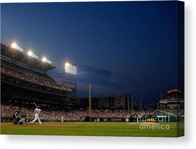 American League Baseball Canvas Print featuring the photograph Ian Desmond by Patrick Mcdermott
