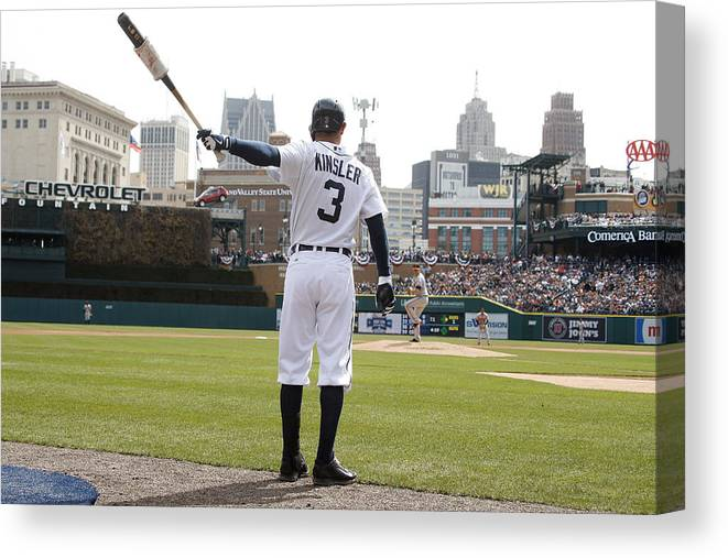 American League Baseball Canvas Print featuring the photograph Ian Kinsler by John Grieshop