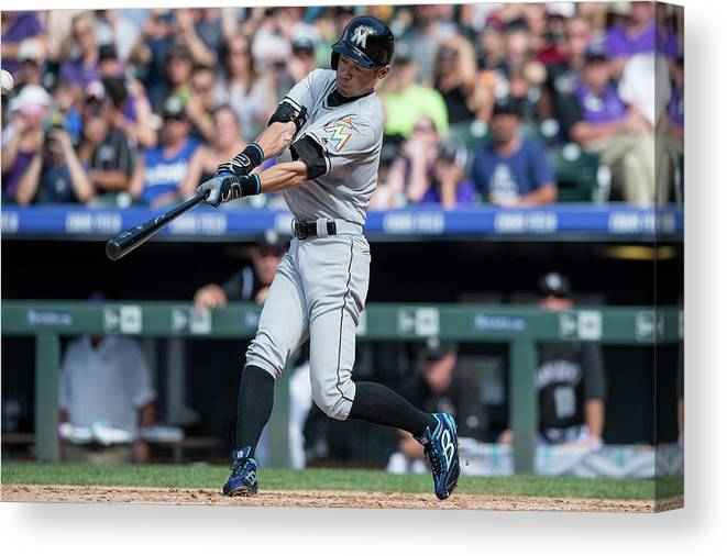 People Canvas Print featuring the photograph Ichiro Suzuki and Chris Rusin by Dustin Bradford