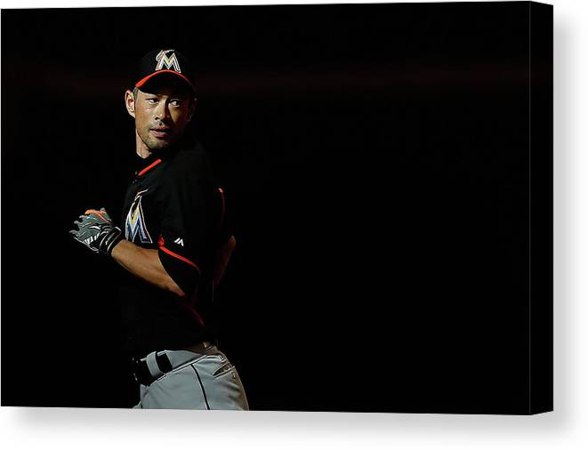 People Canvas Print featuring the photograph Ichiro Suzuki by Christian Petersen