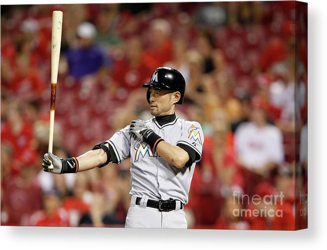 Great American Ball Park Canvas Print featuring the photograph Ichiro Suzuki by Joe Robbins