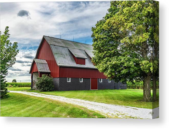 Landscape Canvas Print featuring the photograph Indiana Barn #126 by Scott Smith