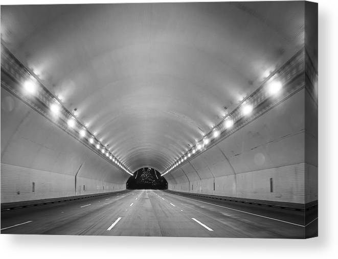 Ceiling Canvas Print featuring the photograph Interior Of Illuminated Tunnel by Jesse Coleman / EyeEm