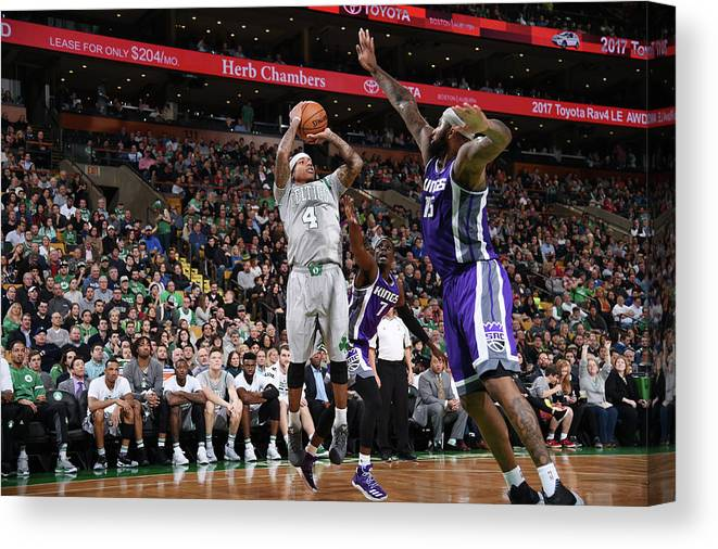Nba Pro Basketball Canvas Print featuring the photograph Isaiah Thomas and Demarcus Cousins by Brian Babineau