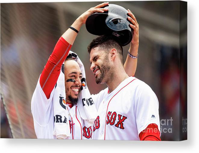 Headwear Canvas Print featuring the photograph J. D. Martinez by Billie Weiss/boston Red Sox