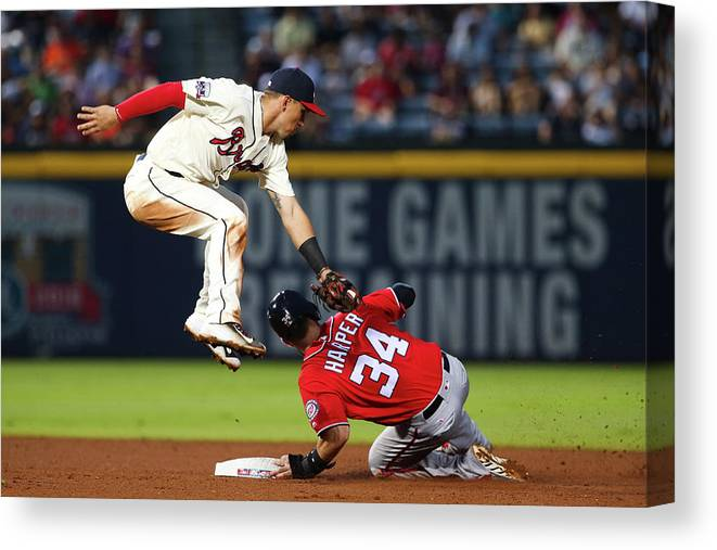 Atlanta Canvas Print featuring the photograph Jace Peterson and Bryce Harper by Kevin Liles
