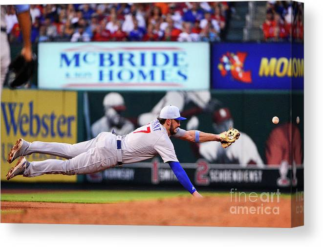 People Canvas Print featuring the photograph Jack Flaherty and Kris Bryant by Jeff Curry
