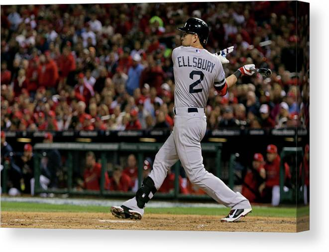American League Baseball Canvas Print featuring the photograph Jacoby Ellsbury and Stephen Drew by Elsa