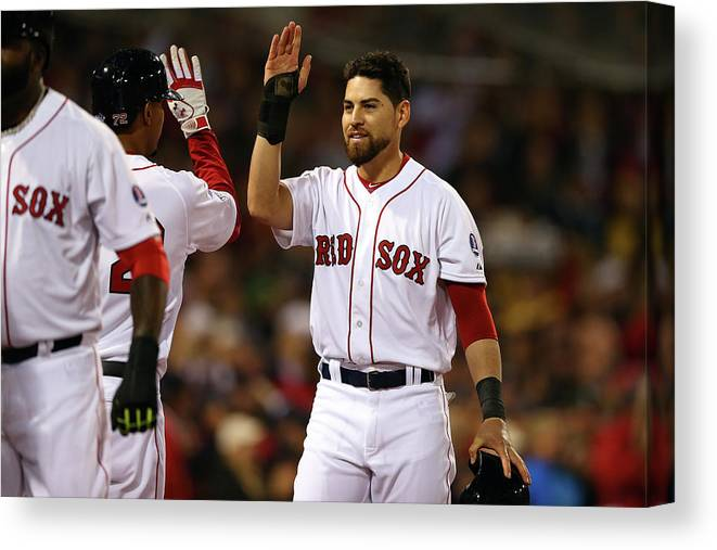 American League Baseball Canvas Print featuring the photograph Jacoby Ellsbury and Xander Bogaerts by Elsa