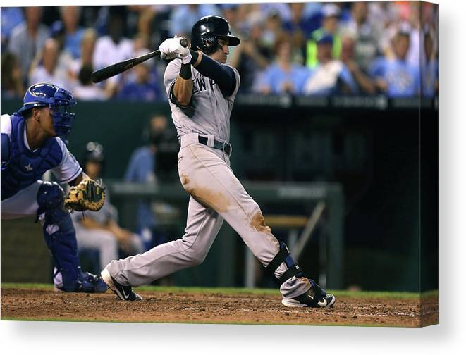 American League Baseball Canvas Print featuring the photograph Jacoby Ellsbury by Ed Zurga