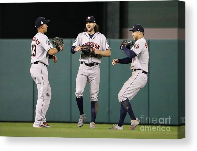 American League Baseball Canvas Print featuring the photograph Jake Marisnick, Michael Brantley, and George Springer by Patrick Smith