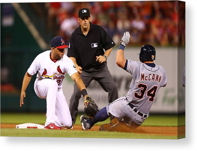 St. Louis Cardinals Canvas Print featuring the photograph James Mccann and Jhonny Peralta by Dilip Vishwanat