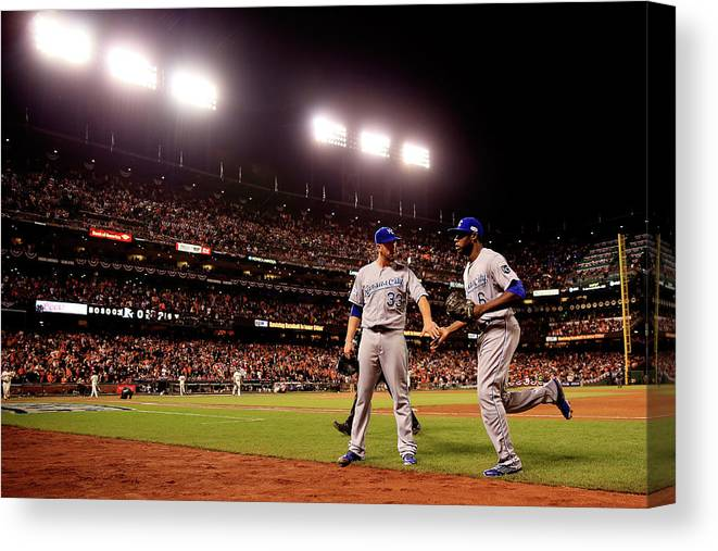 San Francisco Canvas Print featuring the photograph James Shields and Lorenzo Cain by Rob Carr